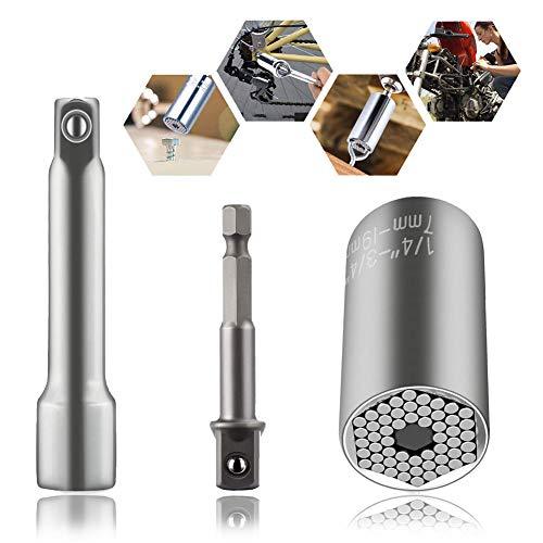 SOECE Steckschlüssel Multi Funktions Handwerkzeuge Universal Reparatur Werkzeuge 7-19mm Gator Griff Sockel Set, Power Bohrer Adapter Werkzeug, Handwerkzeug, Multi-Funktions Reparatur Tools,HSS-Adapter