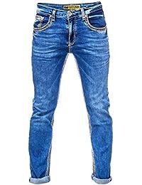 2b5cdefd9d08ae Rusty Neal Herren Jeans Hose Regular Fit Blue Used Blau Stretch Dicke Naht  Freizeit J100