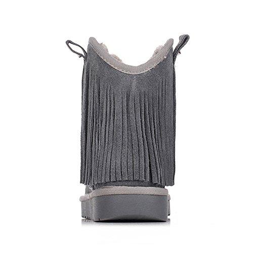 Rismart Damen Mode Knöchelhoch Wildleder Quaste Schneestiefel SN2801 Grau
