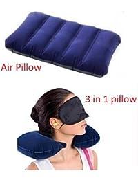 Neck Travelling Pillow with Eye Mask and 2 Ear Plugs + Velvet Velvet Soft Comfortable Air Inflatable Travel Pillow for Family Tour Children Babies - Blue