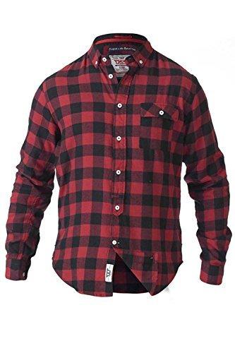 Groß Und Hoch Knopf Manschette Hemd (Herren Duke D555 groß hoch king-size Angelo Watson oder Lawton kariertes Hemd gebürstet Baumwolle Lumberjack TOP - Lawton - rot schwarz, 4XL 142cm-147cm Brustumfang)