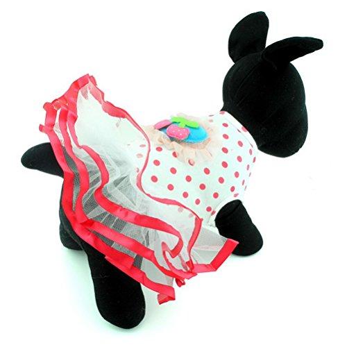 zunea Kleine Hund Katze Kleidung für Sommer Cherry Prinzessin Kleid Tutu (Cherry Christmas Lights)