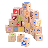 TOYMYTOY 26pcs Wooden ABC Letter Blocks Alphabet Block Educational Toy for Baby Infant Kids