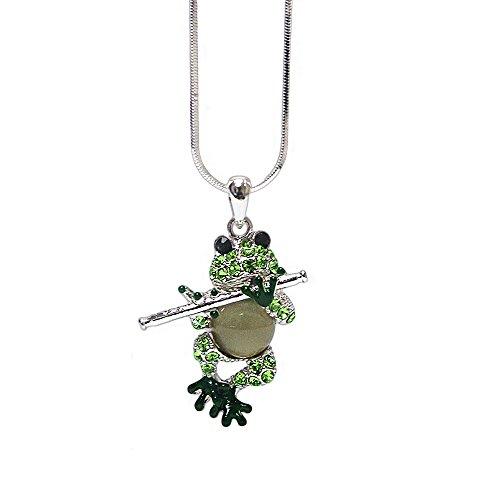 Lola Bella Halskette mit Anhänger, Frosch mit Flöte, mit Geschenkbox (Flöte Schmuck)