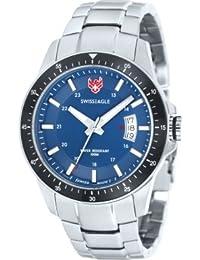 Swiss Eagle SE-9032-33 - Reloj para hombres, correa de acero inoxidable color plateado
