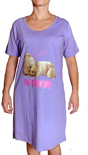 TopsandDresses -  Camicia da notte  - Maniche corte  - Donna Ladies Purple Teddy
