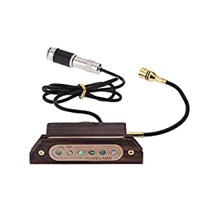 """Andoer Artisanat Rose Bois Magnetique Ramassage Rosace Humbucking Amplificateur Transducteur Tone Volume Réglable 6.3mm Jack avec Microphone pour 39 """"/ 40"""" / 41 """"/ 42"""" Guitare Acoustique"""