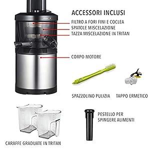 Classe Italy 70430190 Estrattore di Succo Bassa Velocita 43 Giri/Min, 0.5 litri, 150 Watt, Acciaio - 2021 -