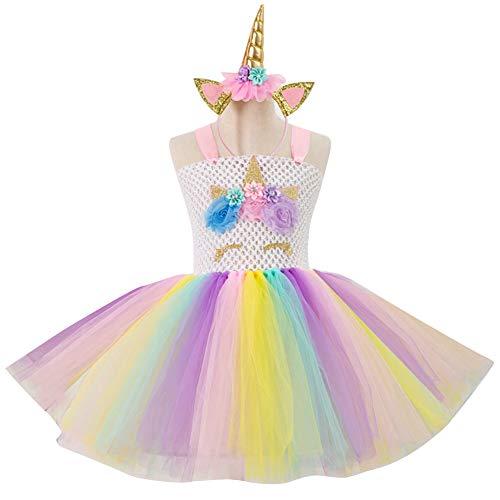 CHIRORO Mädchen Kleid Einhorn Haarreif Bunter Tutu Tütü Rock mit Einhorn Blume Haarreif Kinder Kleidung Set Komplettes Kostüm Karneval Cosplay Party Hochzeit Prinzessin Kleid,Weiß,6-7 ()