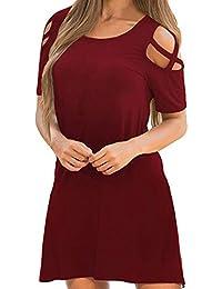 VEMOW Sommer Herbst Elegante Frauen Damen Kreuz Kurzarm Schulterfrei Lässig  Täglichen Training T-Shirt Kleid 97991c98e8