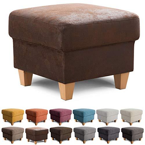 Cavadore Hocker Finja / Polsterhocker im modernen Landhausstil / Fußbank für\'s Wohnzimmer passend zum Sessel Finja / 59 x 47 x 59 / Lederoptik Braun