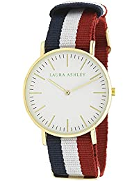 Laura Ashley Women's LA31016WT Laura Ashley Stainless Steel Watch With Striped Nylon Band