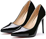 TONMOON Women's Classic Slip-on Pumps High Heels Pointy Toe Elegant Stiletto Heels Heel S