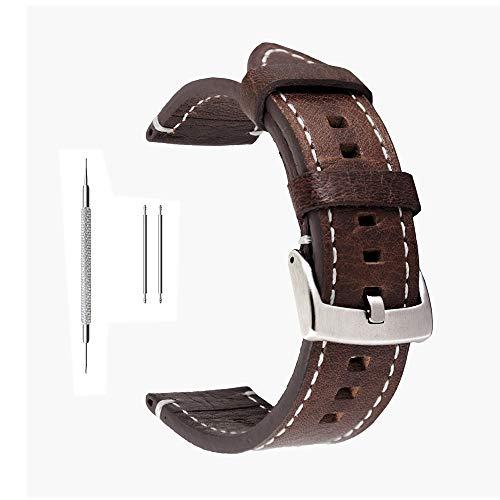 Correa de reloj de piel auténtica extrasuave de Berfine, recambio unisex, color negro, 18 mm, 20 mm, 22 mm, marrón oscuro, 20 mm