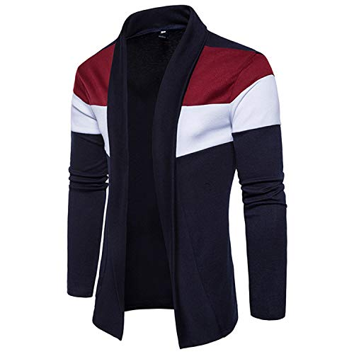 Shawl Collar Cardigan Men Pull Homme Fashion Autumn Slim Fit Long Mens Cardigans Casual Hit Color Knitted Cardigan Sweater Navy Blue S -