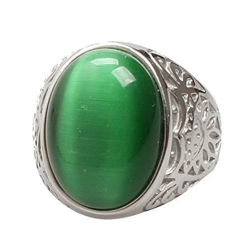PAURO Unisex Edelstahl Oval Katzenauge Stein Ring Mit Silber Vintage Flower Muster Grün Gr. 62 (Grüne Edelstein-ring)