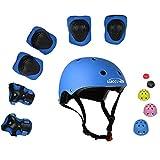 UniqueFit Lucky-M - Juego de 7 Almohadillas Protectoras para Deportes al Aire Libre para niños y niñas (Rodilleras, Coderas y muñequeras) (Azul Escarabajo)