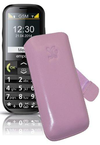 Original Suncase Tasche für / Emporia C160 emporiaECO / Leder Etui Handytasche Ledertasche Schutzhülle Case Hülle Lasche mit Rückzugfunktion* In Rosa