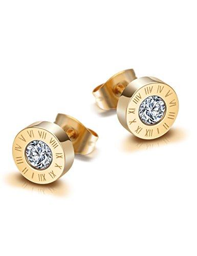 WISTIC Damen Herren Ohrstecker Set Glitzern Ohrringe mit Kristall Rosegold Gold Schwarz Geschenk Nickelfrei