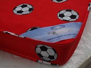 Single Mattress 3ft (90cm) Width - 6ft3 (190cm) Length Red Football