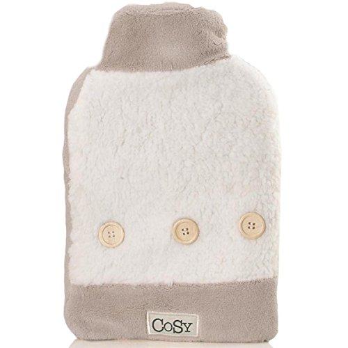 Taupe & Weiß Wärmflasche | | kuscheliges Plüsch | Cosy und flauschig Bezug, Flauschige Bett Tröster
