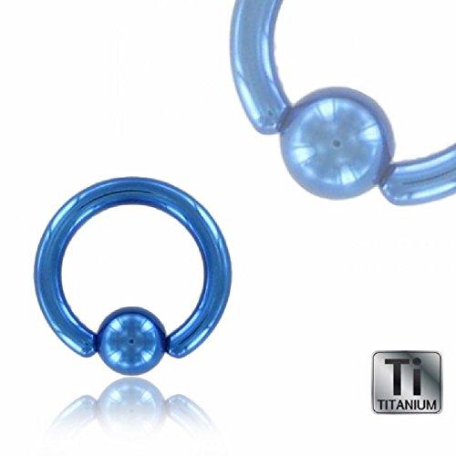 Color Titan - BCR Klemmring - blau (Piercing Ball Closure Ring für u.a. Brustwarzen-, Nasen-, Septum- und Ohrpiercings) Epaisseur: 1,6 mm | Diamètre: 16 mm | Boule: 5 mm