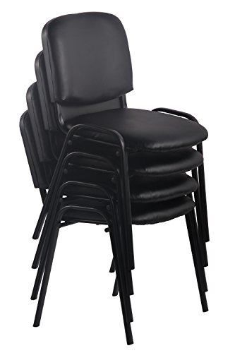 CLP Besucherstuhl KEN mit hochwertiger Polsterung und Kunstlederbezug | Stapelstuhl mit robustem Metallgestell und gepolsterter Rückenlehne | Maximale Belastbarkeit: 120 kg Braun - 4