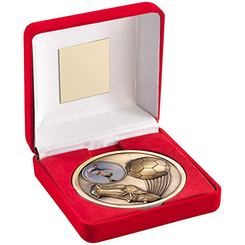 Womack Graphics Red Velvet Box And 70Mm Medallion Football Trophy - Antique Gold (1