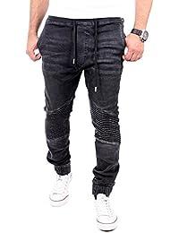 Reslad Jogg-Jeans Biker-Style Jeans-Herren Slim Fit Jogging-Hose RS-2068