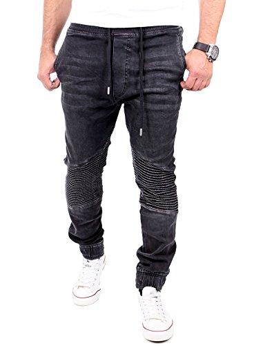 Reslad Jogg-Jeans Biker-Style Jeans-Herren Slim Fit Jogging-Hose RS-2068 Schwarz L