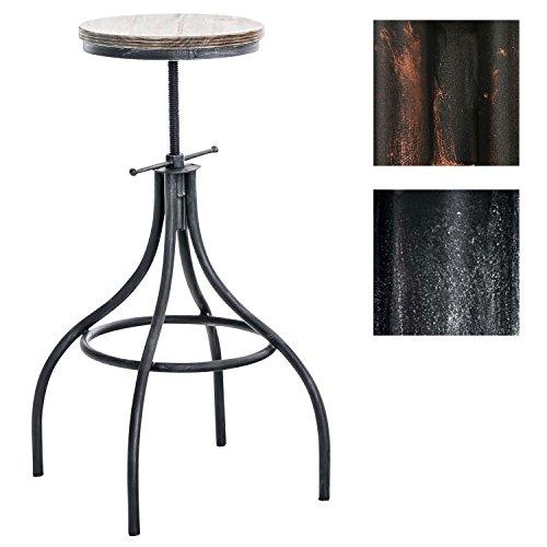 CLP Taburete JOS con asiento de madera y soporte metálico. La altura del asiento es regulable: 66-82 cm. Diseño industrial y sencillo. plata envejecido