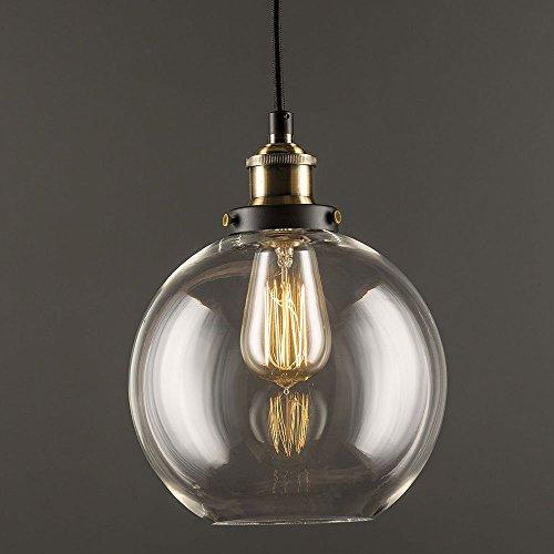 Glas Pendelleuchte Vintage Industrie klar Glas Ball Deckenleuchte rund, Lampenschirm Anhänger Licht für Home Office Schlafzimmer Coffee Shop -