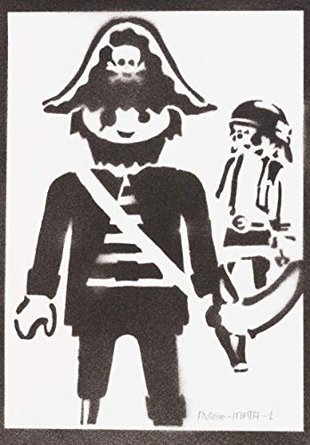 Póster Click Pirata Playmobil Grafiti Hecho A Mano