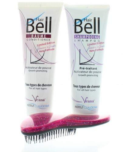 HairBell Shampoo + Conditioner flowers and fruits + DeTangler lila glitter metallic Haarwachstum beschleunigen, Hair shampoo für haarwachstum, Anti Haarausfall für dünnes Haar, gegen Haarausfall