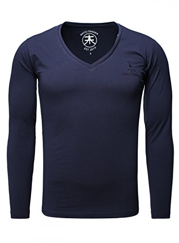 Akito Tanaka Herren Longsleeve Basic v-neck uni langarm T-Shirt mit tiefem V-Ausschnitt einfarbig slimfit, Grösse:M;Farbe:Dunkelblau