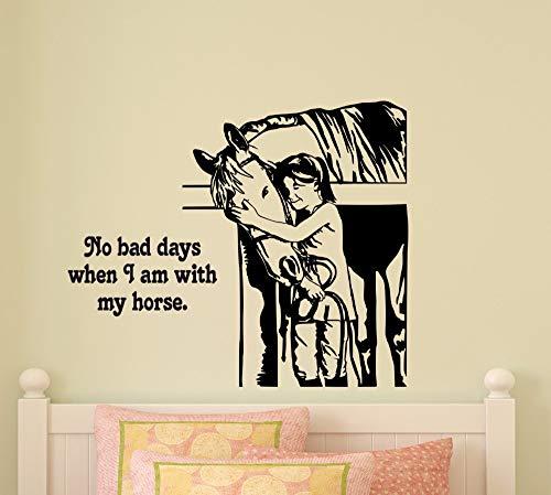 jiuyaomai Kindergarten Pferd Zitat Wandtattoo Reiter Western Deisgn Dekoration Reiten Wandkunst Wand Fenster Wand Vinyl Poster Eine rote 72x57 cm - Pferd Wandtattoos Zitate