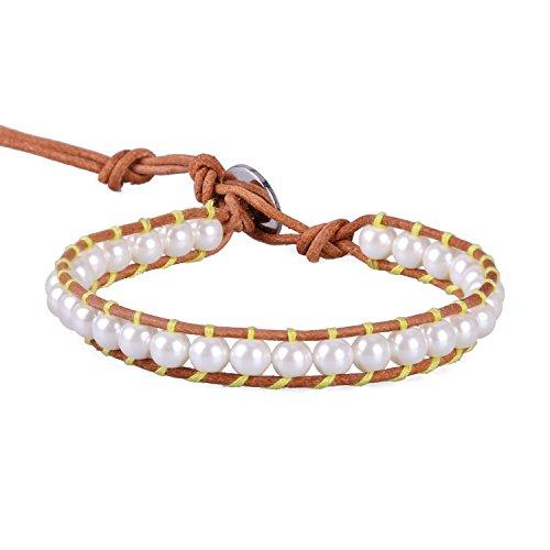 ner Frauen Leder Handgefertigt Hell Gelb Schale Perle Perlen Wrap Armband Freundschaftsarmbänder Armbänder Damen Herren ()