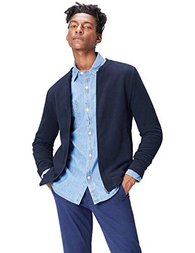 FIND Bomberjacke Herren aus Jersey, mit elastischen Bündchen, Taschen und Reißverschluss, Blau (Navy), 52 (Herstellergröße: Large)