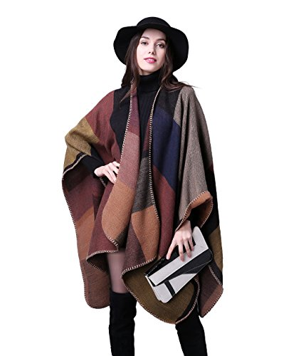 Damen Poncho Herbst Winter Kariert Capes Patchwork Strickjacke Mehrere Funktion (One Size, Plaid / kakhi)