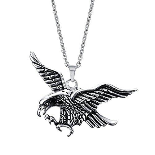 Epinki Herren Halskette, Edelstahl Adler Form Anhänger Herrenhalskette Edelstahlkette Edelstahlanhänger Kette 5.4CM (Kostüme Der Karte Herz König)