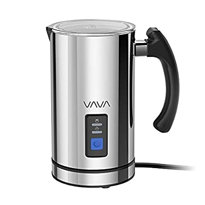 Milk Frother, VAVA Electric Liquid Heater with Hot or Cold Milk Functionality (Silent Operation, Strix Temperature Controls, Non-Stick Coating, Milk Level Indicator, and Extra Whisks)