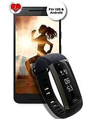 Fitnesstracker FP Fitlife Blutdruck, Sauerstoff, Herzfrequenz, Atemfrequenz, Schlaf, Kalorien, Aktivität, Handy Lost Funktion, Kamera Fernbedienung - Daueraufzeichung. Version 2018 - Neuheit