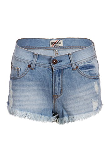 Damen Denim Jeans Used Look Hot Pants Shorts mit Rissen Blau