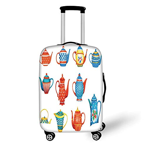 Travel Luggage Cover Suitcase Protector,Tea Party,Colorful Teapots Various Shapes Sizes Breakfast Ceramic Cute Design Decorative,Blue Vermilion Yellow,for Travel (Party Tea Frozen)
