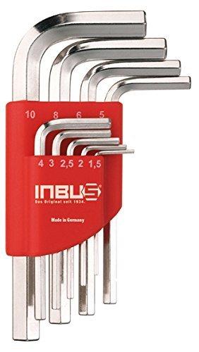 INBUS® 70150 Inbusschlüssel Set Kurz Metrisch 9tlg. 1,5-10mm | Made in Germany| Innensechskant-Schlüssel | Winkel-Schlüssel | 1,5mm | 2mm | 2,5mm | 3mm | 4mm | 5mm | 6mm | 8mm | 10mm | Kurze Ausführung
