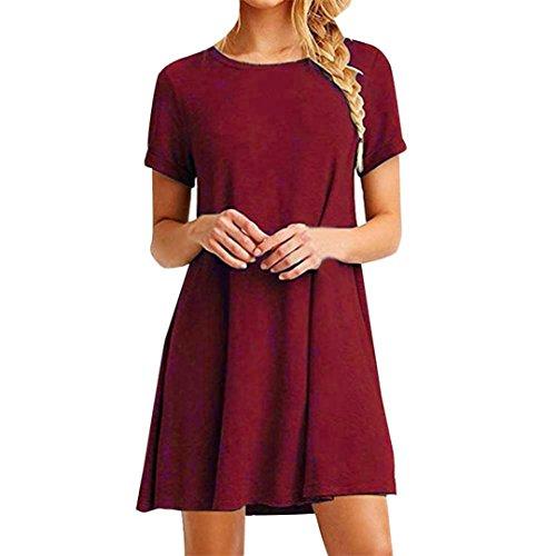 Sommer Amlaiworld Damen baumwoll Plissee sport locker kleider mode t-shirt Kurz Kleid Freizeit 5 Farbe kleidung für Mädchen (L, (Roben Kostüm Rote)