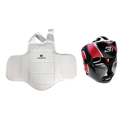 MagiDeal Unisex Kopfbedeckung Boxen Helm mit Kampfkunst Ausrüstung MMA Brustschutz