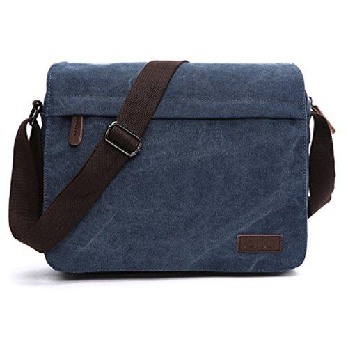 Outreo Vintage Borsa a Tracolla Borse Uomo Borsa a Spalla Messenger Bag Sacchetto di Tela Borsello per Laptop Scuola Tasca libri Tracolle Sport Bag blu