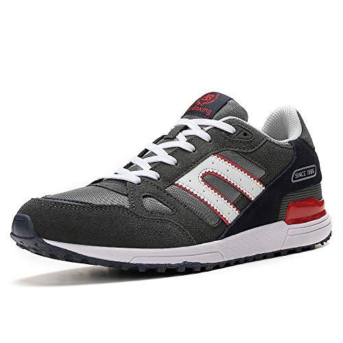 AX BOXING Herren Sportschuhe Laufschuhe Sneaker Atmungsaktiv Leichte Wanderschuhe Trainers Schuhe (43 EU, 8333-grau) (Trainer Sneaker Schuhe)