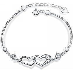 """Merdia S925 Sterling Silber Herz mit einem Kubisch Zirkonia Damen Armband 7.5 """""""